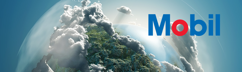 ExxonMobil Sustainability Practices - Commitment to Responsibility with Mobil Logo and Clouds and Mountains